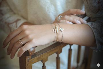 Bracelet Salty Flower - two rings - Yellow Gold - 9 carat