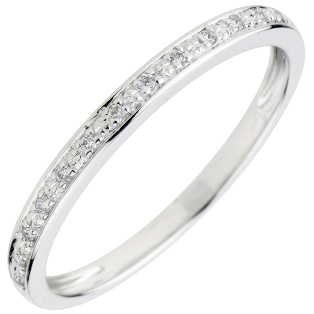 Alliance Eclats de diamant - or blanc 9 carats et diamants - demi-tour    bijoux Edenly fe23ef115c9b