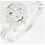 خاتم رقص الإوز ـ 0.11 قيراط ـ ذهب أبيض عيار 18 قيراط