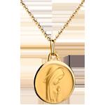 ميدالية العذراء معاصرة ذات جوانب محدبة 17 مم ـ من الذهب الأصفر 18 قيراط