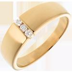 خاتم ثلاثي إتخانت ذهب أصفر 18 قيراط ـ 3 ماسات