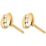 أقراط ني بريسيو ـ ثلاثي الألماس ـ من الذهب الأصفر عيار 18 قيراط ـ 6 ماسات