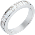 Geschenke Frauen Trauring zur H�lfte mit Diamanten besetzt in Weissgold - 075 Karat