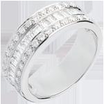 bijou or Bague Féérie - Héritière - or blanc pavée - 1 carat - 44 diamants