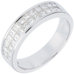 mariages   Alliance or blanc semi pav�e - serti rail 2 rangs   - 1 carats