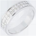 cadeaux femmes   Alliance or blanc semi pavée - serti rail 2 rangs   - 1 carats