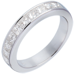 cadeau Alliance or blanc semi pavée - Diamants taille princesse sertis rail - 1 carat
