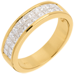 bijou or Alliance or jaune semi pav�e - serti rail 2 rangs  - 1 carats