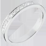 cadeau femmes Alliance or blanc semi pavée - serti rail - 0.31 carats - 11 diamants