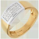 خاتم سانتيرون مرصوف ـ الذهب الأبيض و الذهب الأصفر 18 قيراط
