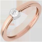 خاتم سوليتير دبلج ـ ترصيع مغلق ـ من الذهب الأبيض والذهب الوردي 18 قيراط