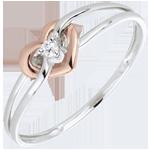 خاتم حبي بالألماس ـ الذهب الأبيض والذهب الوردي 18 قيراط