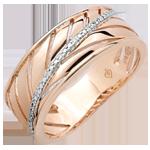 خاتم السَعف ـ الذهب الوردي 18 قيراط والألماس