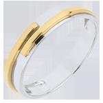 خاتم زواج تيتان من الذهب الأبيض والأصفر 18 قيراط