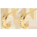 bijoux or boucles d'oreilles demi-lunes pavées - or jaune  - 12 diamants