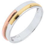 خاتم زواج تيتان ـ 3 ألوان لذهب الأبيض ـ الذهب 9 قيراط