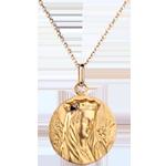 Medalion Fecioară încoronată 20mm - aur galben de 18K