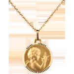 Medaille Engel en vogeltje 14mm - 18 karaat geelgoud