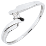 bijou or Solitaire Nid Pr�cieux - Cygne - or blanc - 18 carats