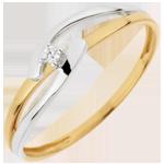 Geschenke Solit�r Ring Kostbarer Kokon - Doppelte Union - Gelb und Wei�gold - 0. 02 Karat - 18 Karat