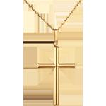 Krzyżyk z rurek - złoto żółte 18-karatowe