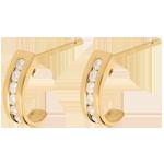 vente en ligne Boucles d'oreilles demi lunes or jaune pavées  - 0.22 carats - 12 diamants