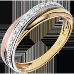 Inel Saturn Diamant - 3 nuanţe de aur - trei nuanţe de aur de 18K