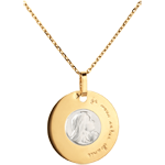 Medalion reprezentând Fecioara, gravat, 18mm - aur alb şi aur galben de 18K