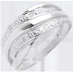 cadeau femme   Bague naja or blanc pavée diamants  - 4 diamants