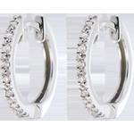 Creole semi pavate din aur alb de 9K - 16 diamante