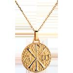 Medalion Christogramă 18mm - aur galben de 18K