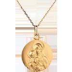 Medalion clasic reprezentând Fecioara cu pruncul 18mm - aur galben de 18K
