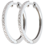 Semi-paved hoops white gold - 32diamonds