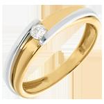 cadeau femme Solitaire bipolaire or jaune – or blanc  - 0.08 carat