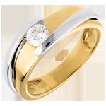 Solitario Nido Prezioso - Bipolare - oro giallo ed oro bianco (TGM+) - 0.31 carati - 18 carati