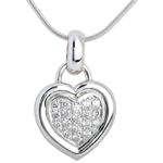 bijouteries Pendentif coeur pav� or blanc  - 0.41 carat - 18 diamants