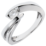 Solitaire Cuib Preţios - Ondine - aur alb de 18K - 1 diamant: 0.27 carate.