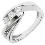 bijou Bague trilogie Nid Précieux - Ritournelle - or blanc - 0.54 carat - 3 diamants - 18 carats