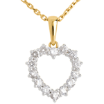 Pandantiv Inimă decoltată diamante - 0.9 carate - 14 diamante - aur galben şi aur galben de 18K