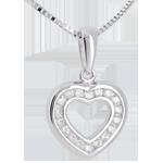 bijou or Pendentif coeur en abyme  - or blanc pav� - 0.25 carat - 18 diamants