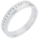 Geschenk Trauring zur Hälfte mit Diamanten besetzt in Weissgold - Kanalfassung - 0.21 Karat - 14 Diamanten
