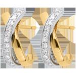 cadeaux femmes Boucles d'oreilles Noeuds tandem paves or jaune et or blanc - 22 diamants