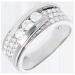 Hochzeit Ring Sternbilder - Variierte Trilogie Pavage - 0.86 Karat - 35 Diamanten
