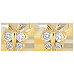 Orecchini a bottone- Mia Piccola Farfalla - in oro giallo 18 carati e diamanti