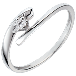 Solitario Nido Prezioso - Orione - Oro bianco - 18 carati - Diamante