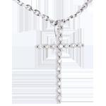 Zawieszka w kształcie krzyża z białego złota 18-karatowego - 17 diamentów