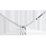 mariage Collier solitaire or blanc  - diamant 0.07 carat - 45cm