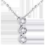 achat on line Collier trilogie filante or blanc - 3 diamants