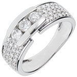 bijou or Bague Constellation - Trilogie pavée or blanc - 0.84 carat - 59 diamants