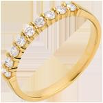 cadeau femmes Alliance or jaune semi pavée - serti griffes - 0.3 carats - 9 diamants